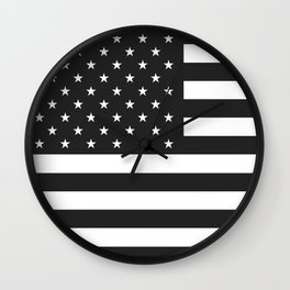 American Flag Stars and Stripes Black White Wall Clock