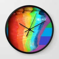 duvet cover Wall Clocks featuring RAINBOW COLORS DUVET COVER by aztosaha