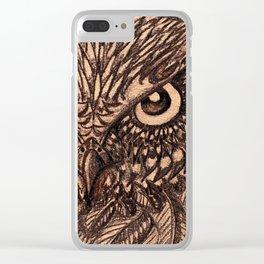 Fierce Brown Owl Clear iPhone Case