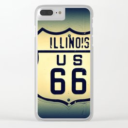 Historic U.S. old Route 66 sign in Illinois. Clear iPhone Case