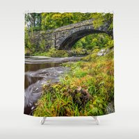 beaver Shower Curtains featuring Beaver Bridge by Adrian Evans