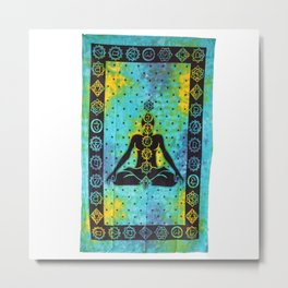 Green Chakra Yoga Meditation Budha Tapestry Metal Print