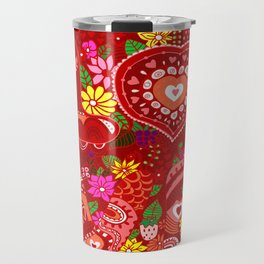 Love Hearts Flowers - Valentine's Day Gifts Travel Mug