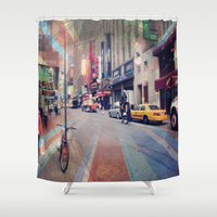 broadway Shower Curtains featuring On Broadway by Wired Circuit