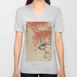 Ohara Koson - Japanese Bird Blockprint Unisex V-Neck