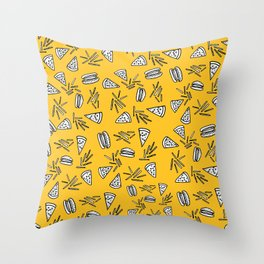 Burgers Pizza Fries and Cheese  Throw Pillow