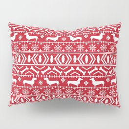 Dachshund doxie fair isle christmas sweater festive red and white holiday dog lover gifts Pillow Sham