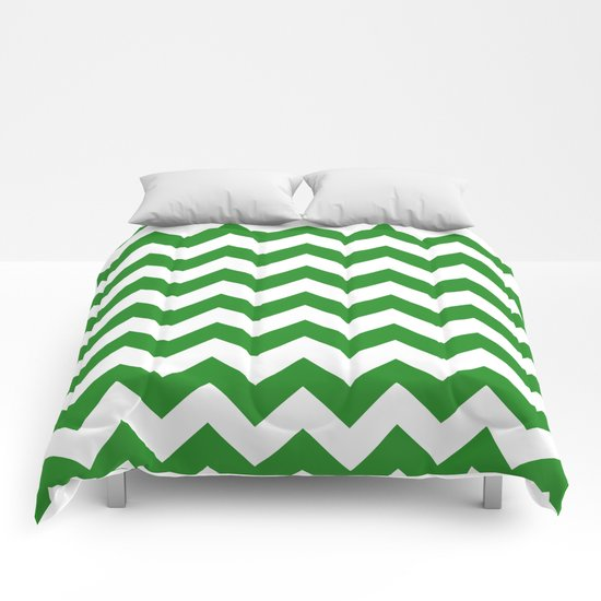 Chevron (Forest Green/White) Comforters