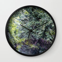 Small stream in a forest Wall Clock