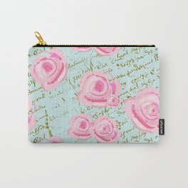 Pink  Roes and French Script Carry-All Pouch