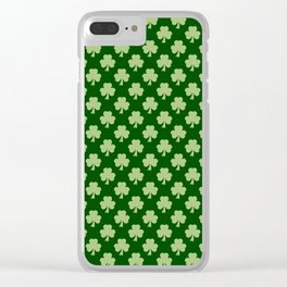 Shamrock Clover Polka dots St. Patrick's Day green pattern Clear iPhone Case