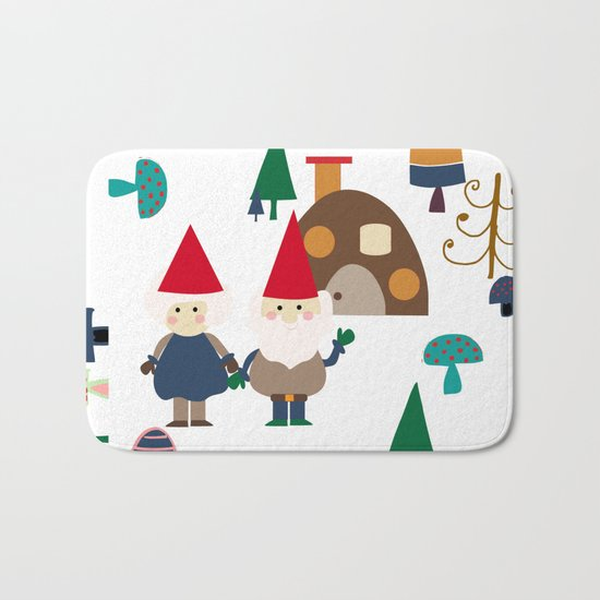 Gnome white Bath Mat