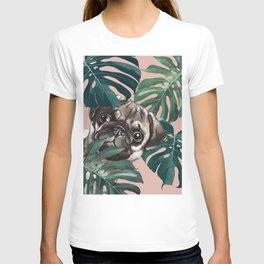 Pug with Monstera Leaf T-shirt
