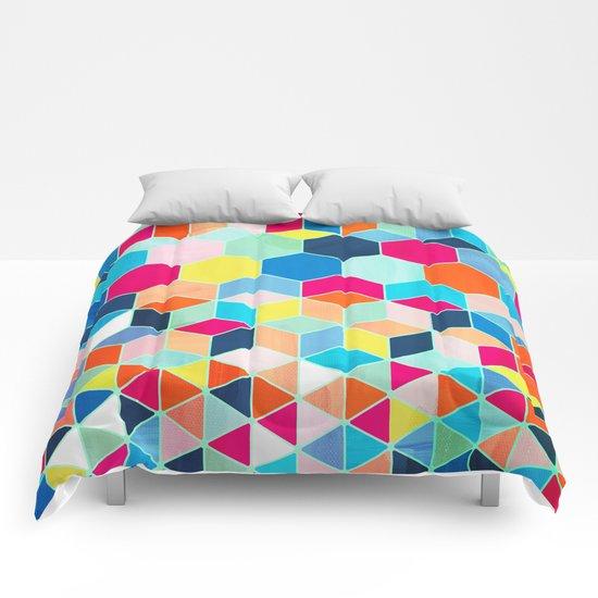 Super Bright Color Fun Hexagon Pattern Comforters