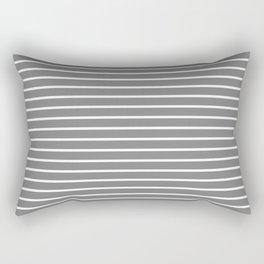 Horizontal Lines (White/Gray) Rectangular Pillow