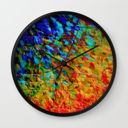 COLLISION COURSE - Bold Rainbow Splash Bricks Urban Jungle Ocean Waves Nature City Acrylic Painting Wall Clock