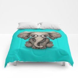 Cute Baby Elephant Calf with Reading Glasses on Blue Comforters