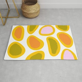 Colorful Abstract Candies on White Background - Joyful Spring/Summer Color Palette Rug
