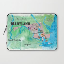 USA Maryland State Travel Poster Map with Touristic Highlights Laptop Sleeve