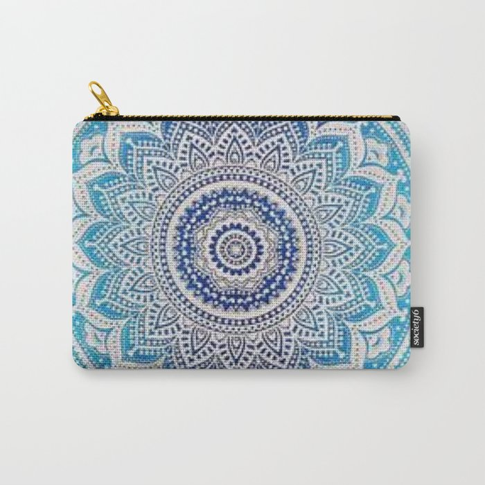 Teal And Aqua Lace Mandala Carry-All Pouch