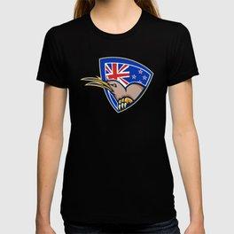 Kiwi Bird New Zealand Flag Shield Retro T-shirt
