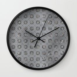 Silver Double Happiness Symbol pattern Wall Clock