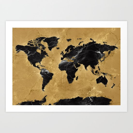 world map marble gold 2 Art Print