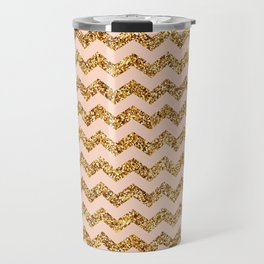 Bisque Gold Glitter Chevron Pattern Travel Mug