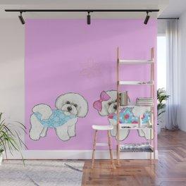 Bichon Frise Dogs in love- wearing pink and blue coats Wall Mural