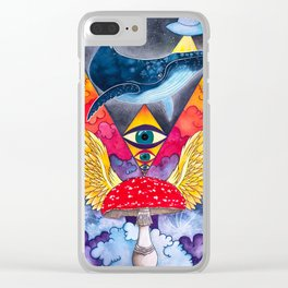 Cosmic Whale Love Clear iPhone Case