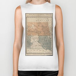 Vintage Map of North and South Dakota (1886) Biker Tank