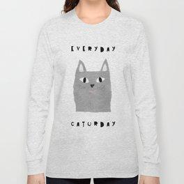 Caturday / poster, cat, art print, pictures, scandinavian, nursery, deco, family, art, animal, petti Long Sleeve T-shirt
