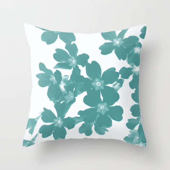 Floral Teal Throw Pillow