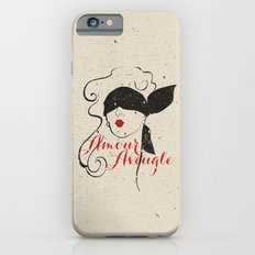 Black Red Vintage French Illustration Woman Sketch iPhone 6s Slim Case