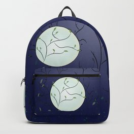 Full Moon With Leaves (Blue) Backpack
