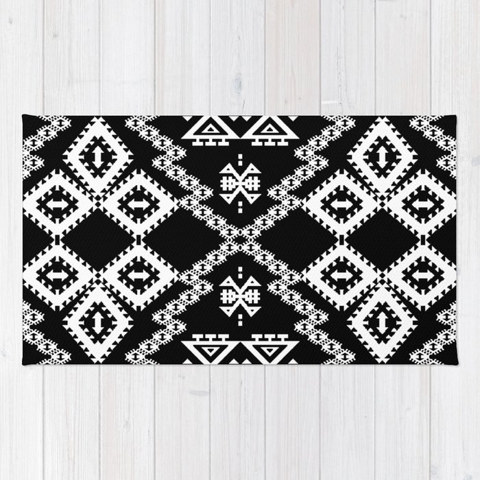Black White Aztec 3 Rug