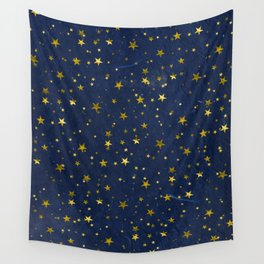 Golden Stars on Blue Background Wall Tapestry