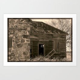 Abandoned Stone Home in Sepia Art Print