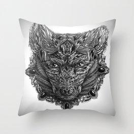 Ornament Bear - Black & White  Throw Pillow