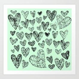 Wire Hearts in Mint Art Print