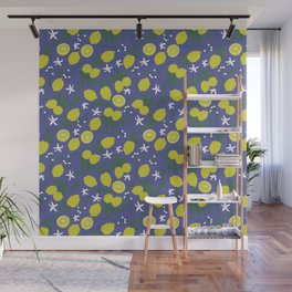 Lemon Floral Pattern Wall Mural