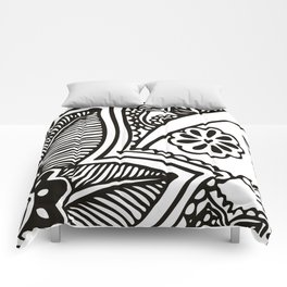 Floral Pattern | Black and White Comforters