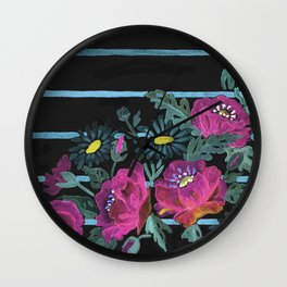 Watercolor Poppies on a striped background. 2 Wall Clock