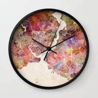 istanbul Wall Clocks featuring Istanbul by MapMapMaps.Watercolors