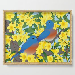 Bluebirds and Yellow Spring Flowers Serving Tray