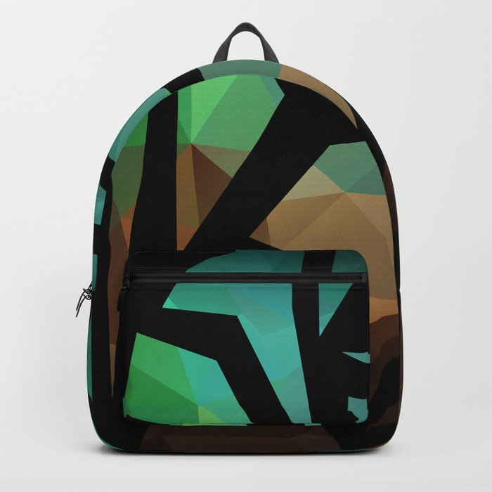Abstract background of triangles polygon print. Bright dark design colors Backpack