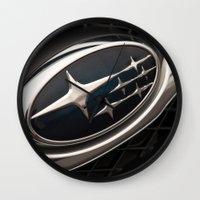 subaru Wall Clocks featuring Subaru Logo by SShaw Photographic