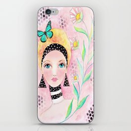 Whimiscal Girl with White Dots and Flowers  iPhone Skin