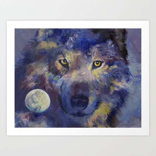 Grey Wolf Moon Art Print