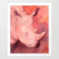 Rhino Rainbow Art Print